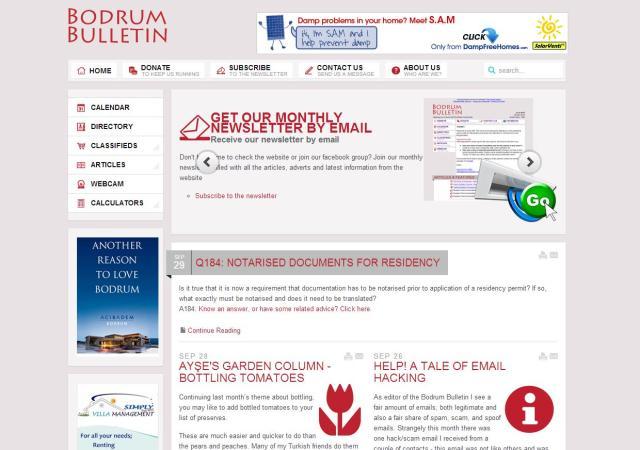 Bodrum Bulletin Website Redesign – Dec 2011