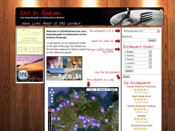 Eat-In-Bodrum Website Design – April 2011