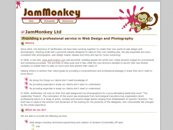 JamMonkey Website Design – May 2008
