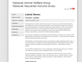 Yalikavak Animal Welfare Group Website Design – December 2009