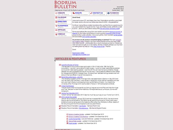 Bodrum Bulletin Newsletter Design – December 2011